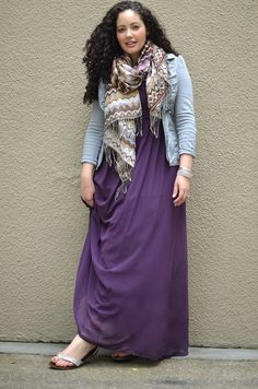 purple dress, graphic scarf, pale blue blazer. Tanesha at Girl with Curves