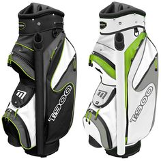 """T:900 Trolley Bag in Black and White / White and Green - Includes putter tube, cool pocket, storage pocket, 9"""" 14 way divider top and accessory clip"""