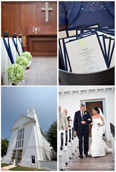 Navy & green church wedding
