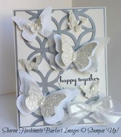 Layered And Glittered Butterfly Wedding Card...Sharon Hashimoto Burkert: Stampin' Up! - As The Ink Dries.