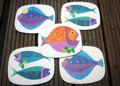 illustration poisson, color, beachi, cindi, cerâmica, 1970s, corks, animaux, animal