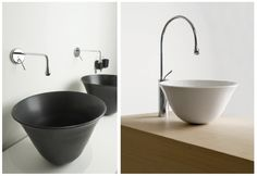Bathroom.  Vessel sink + wallmount faucet + deckmount faucet.  Gessi, bowl shape