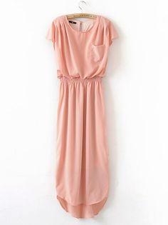 Nude Round Neck Short Sleeve Ruffles High Low Chiffon Dress :]