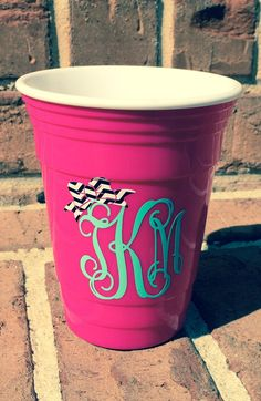 Bow Monogram Insulated Red Solo Cup Inspired  Hot by ThePoshShoppe, $10.00