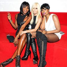 Naomi Campbell, Donatella Versace, and Jennifer Hudson rocked some fierce footwear at the celebration for Anthony Vaccarrllo's Versus Versace collection!