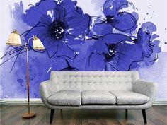 interior wall, painted bouquet of indigo flower
