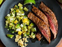 Grilled chile flank steak with tomatillo-pineapple salsa. Photo: Andrew Scrivani for The New York Times