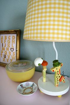 Vintage nursery decor #nursery #yellow