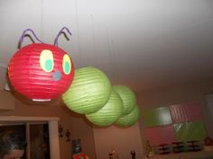 Very Hungry Caterpillar Party paper lantern caterpillar (very fun!) #veryhungrycaterpillar #lantern