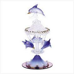 Gifts  Decor Spun Glass Dolphin Carousel Mirrored Base Figurine - Base, Carousel, Decor, Dolphin, Figurine, Gifts, Glass, Mirrored, Spun