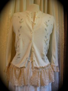 Vintage Beaded Sweater with ruffled lace, via Etsy.