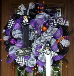 Deco Mesh PURPLE and BLACK HALLOWEEN Wreath