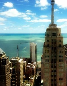 View from the Four Seasons Chicago onto Lake Michigan.