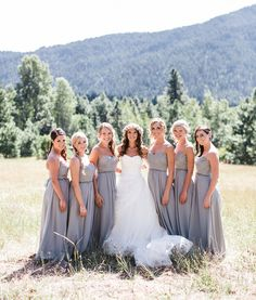 We love these gray maxi bridesmaid dresses!