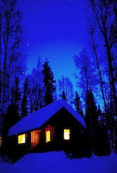 Winter Cabin Under Starry Sky Talkeetna Wilderness Alaska