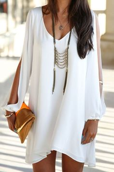 Love this necklace! The dress is pretty too! Elegant Women's V-Neck Long Sleeve Loose-Fitting White Chiffon Dress