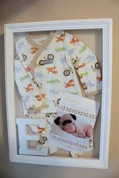 my 1st Pinterest Project DONE! - baby's home from the hospital shadow box babies stuff, memori, baby outfits, frame, shadowbox, baby keepsake, shadow box, kid rooms, birth announcements