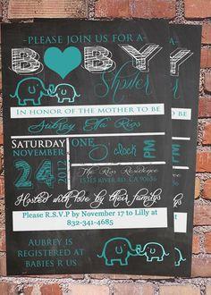 10% OFF Tiffany Blue Elephant Baby shower Invitation