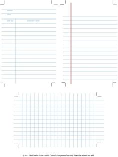 printable library and graph note cards