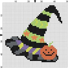 Witches Hat Counted Cross Stitch Pattern by Berwickbay on Etsy, $1.00