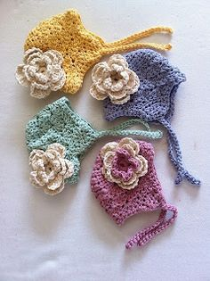 Cute Crochet Bonnets with flowers