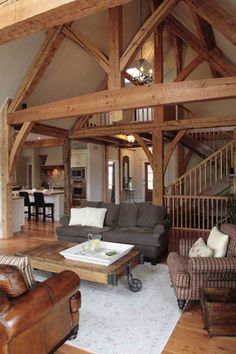 Canadian timber home made from reclaimed timbers. Photo by Robin Stubbert.