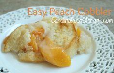 Super Easy Peach Cobbler!!      CarolinaFoodStorage.com  #peaches #cobbler