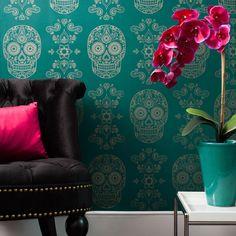 decor, skulls, dining rooms, emeralds, sugar skull, wallpapers, skull wallpap, accent walls, dead wallpap
