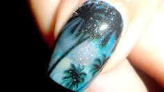 Night Scene on the Beach Nails by madjennsy from Nail Art Gallery