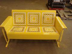 Sunny Yellow Refurbished Powdercoat Vintage Metal Porch Glider......www.retrovintagepatio.com