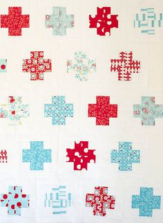 Modern Crosses - pattern is from the book, Modern Log Cabin Quilting by Susan Beal and the fabric is Sugar and Spice by the Quilted Fish.