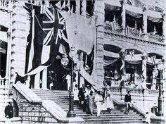Procession at Kalakaua's Jubilee, November 16th, 1886. King and Queen leading the way, Liliuokalani and her husband John Owen Dominis following.