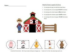 Free Common Core cut and paste activity for math with a farm theme.