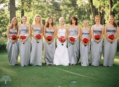 silver and red bridesmaids - amid