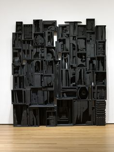 """Sky Cathedral  Louise Nevelson (American, born Ukraine. 1899-1988)    1958. Painted wood, 11' 3 1/2"""" x 10' 1/4"""" x 18"""" (343.9 x 305.4 x 45.7 cm). Gift of Mr. and Mrs. Ben Mildwoff. © 2012 Estate of Louise Nevelson / Artists Rights Society (ARS), New York"""