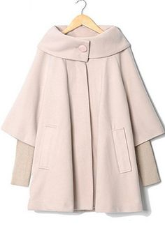 Apricot Patchwork Pockets Buttons Asymmetric Loose Wool Coat
