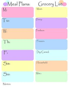 meal plans/daily plans