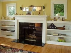 idea, craftsman style homes, fireplaces, fireplace surrounds, fireplace built ins, fireplace bookshelves, windows, fireplac bookshelv, live room