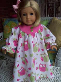 American Girl doll clothes 18 inch doll  clothes Pink owl nightgown. $10.99, via Etsy.