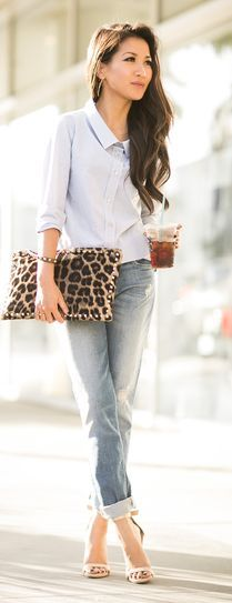 Valentino Brown Leopard Print Studded Hair Calf Clutch by Wendy's Lookbook