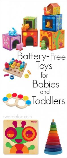 Excellent recommendations from a speech-language pathologist and mother of twin toddlers on why and how to choose developmentally stimulating, battery-free toys for babies and toddlers along with a thorough gift guide.