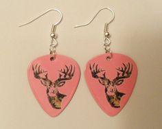 Light Pink Camo Deer Head Guitar Pick earrings by featherpick, $6.00