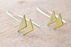 brass double triangle earrings