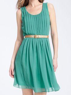 Calvin Klein Belted Chiffon Dress