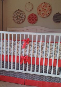 READY TO SHIP Coral and Gray Crib Set Sweet by butterbeansboutique, $335.00