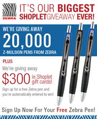 FREE Zebra Pen From Shoplet on http://hunt4freebies.com