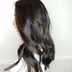 Super shiny brunette Eclipting Color by Aveda Artist Nicole Barrera.