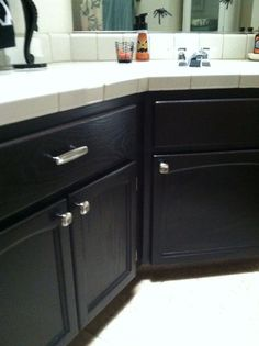 Stain oak cabinets espresso with Java Gel Stain!