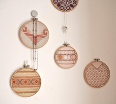 embroidery hoop art - ornaments