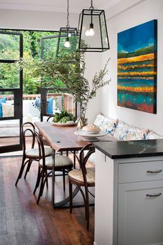 Tamara Mack Design - Interiors - traditional - kitchen - san francisco | love the table and chairs with bench (Galbraith and Paul fabric) |